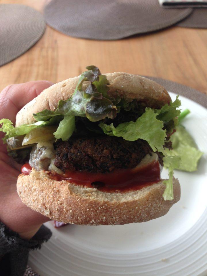 spinach tofu burger on a bun