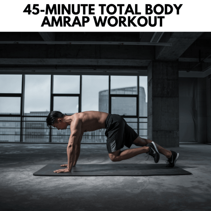 featured image for post with the workout name and an image of a man doing a plank run exercise