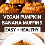 Pinterest pin, long, with a straight on shot of a pumpkin muffin and the recipe title in bold lettering