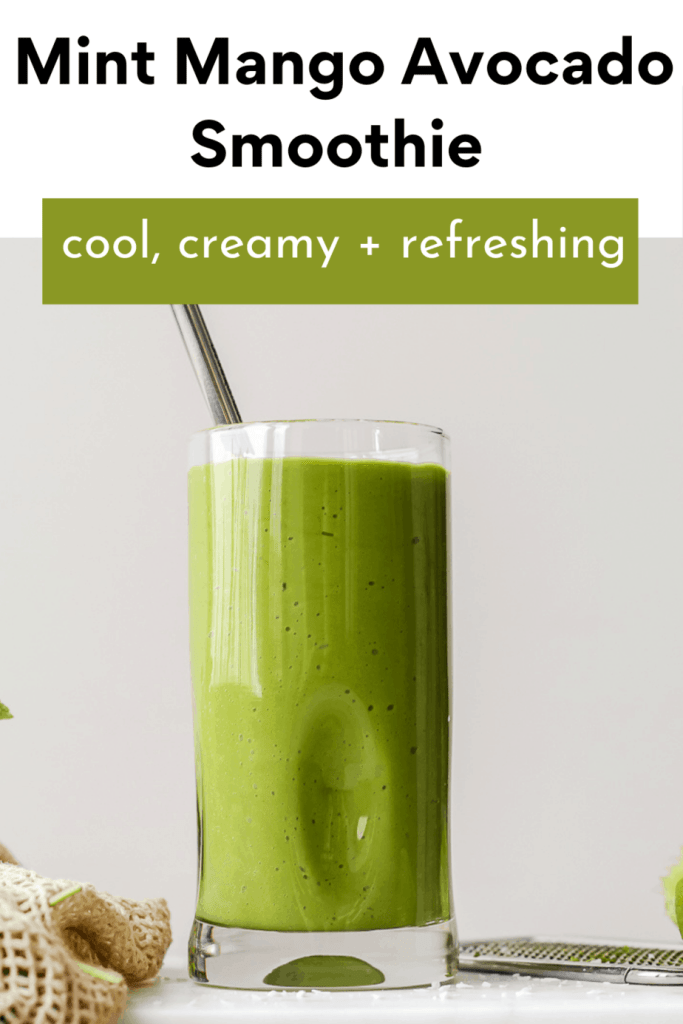 straight on shot of the smoothie on a marble board and the recipe title in bold at the top for Pinterest