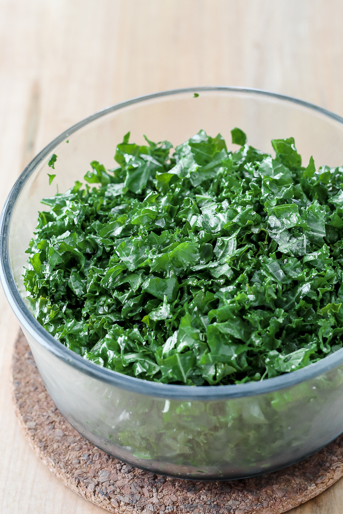 the marinated kale in a dish