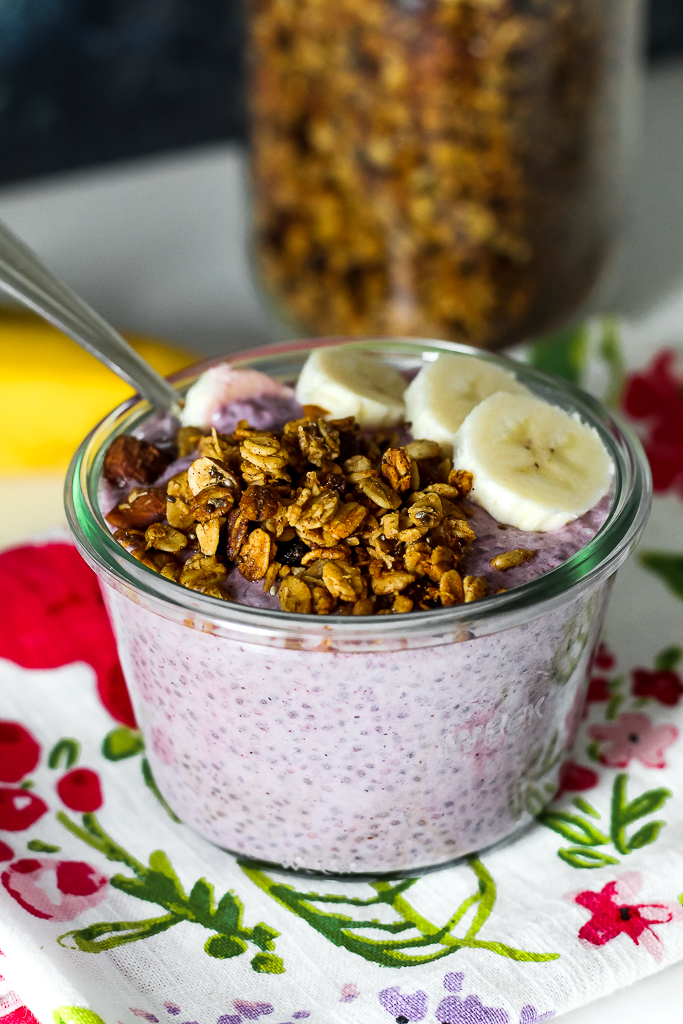 straight on shot of a blueberry chia pudding bowl