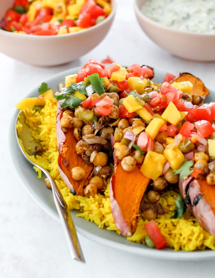 the sweet potatoes with the mango salsa on top