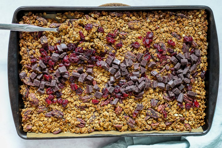overhead photo of the granola on a baking sheet