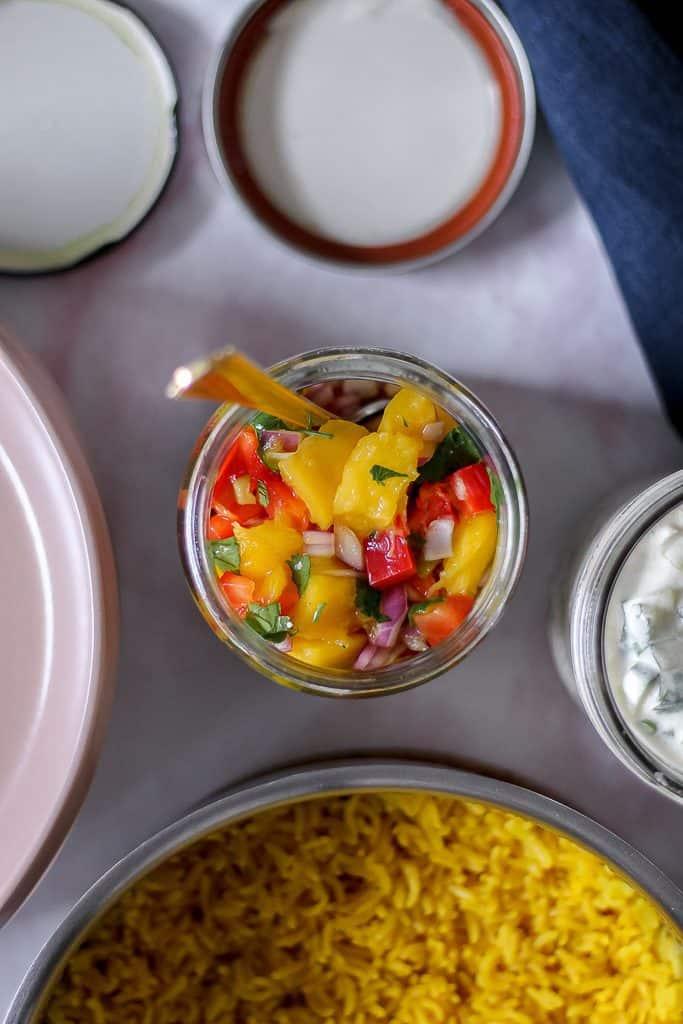 mango salsa in a jar