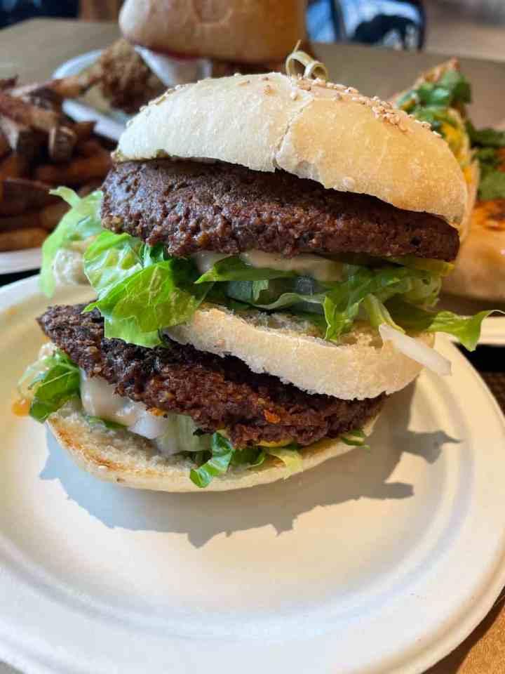 vegan hamburger from Stir it Up PEI