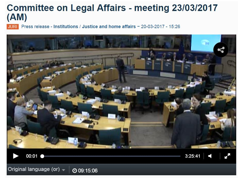 EU Parliament legal affairs committee UPC