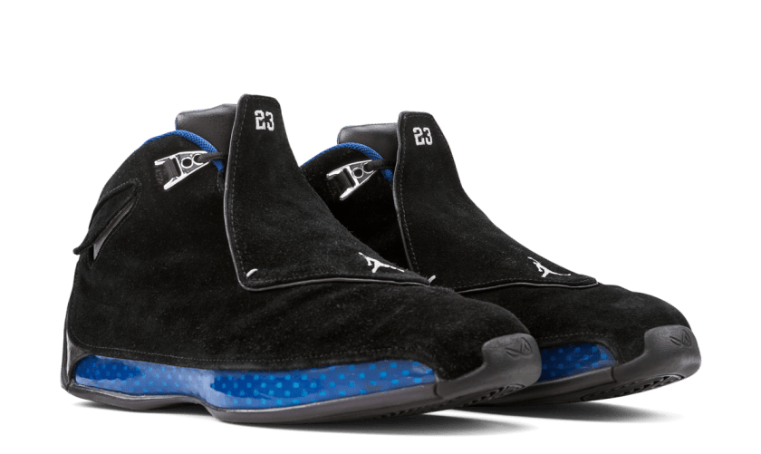 Air Jordan 18 Black Sport Royal with Black rubber sole style