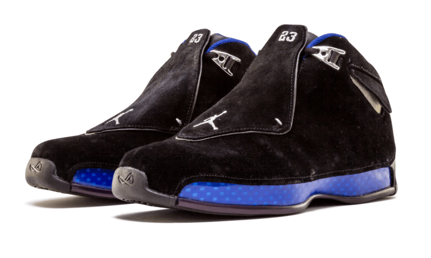 Air Jordan 18 Black Sport Royal with updated version looks