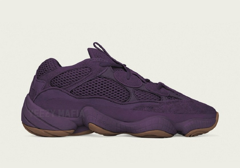 Adidas Yeezy 500 Ultraviolet with a wistful gum-colored outsole