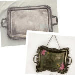 vintage serving tray upcycled with decoupage