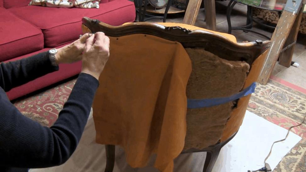 Upholstering an armchair
