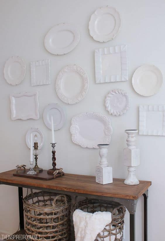 upcycled white plates of different sizes