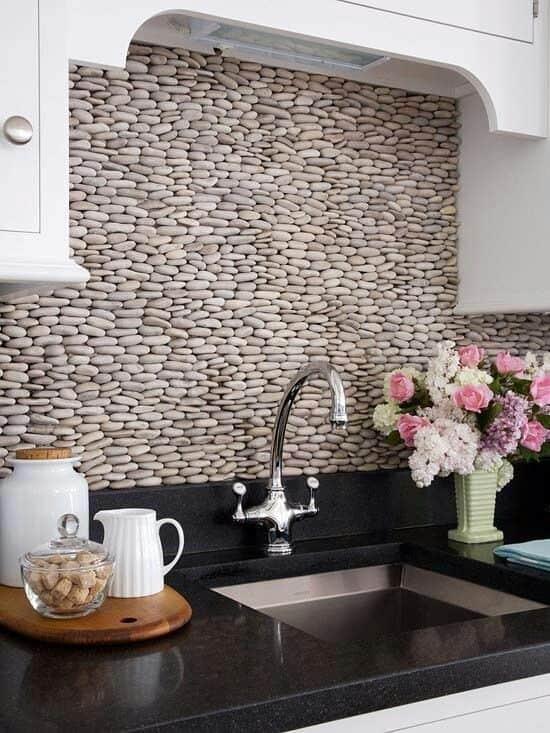 DIY Kitchen Makeover pebbles backsplash
