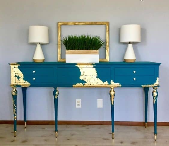 vintage console table with gold