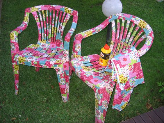 decoupaged plastic chairs