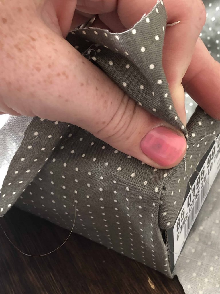 how to cover a cardboard box with fabric