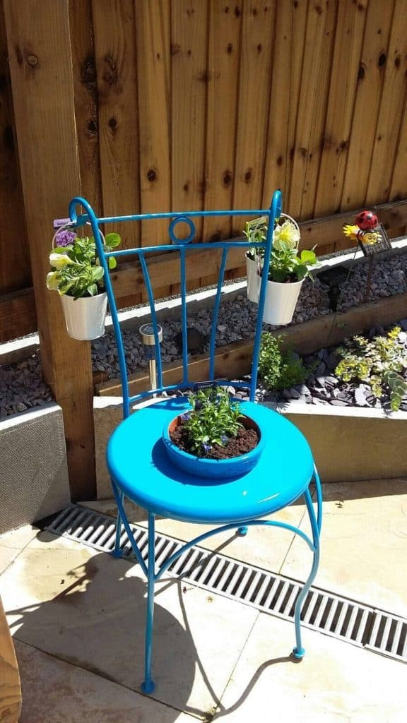 chair planter upcycle project