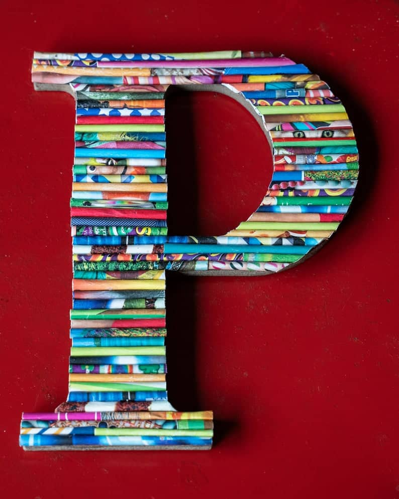 letter made of magazines