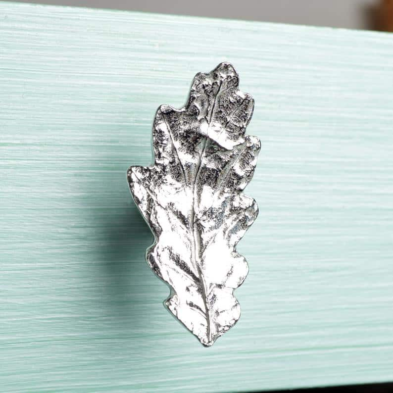 pewter oak leaf drawer pull