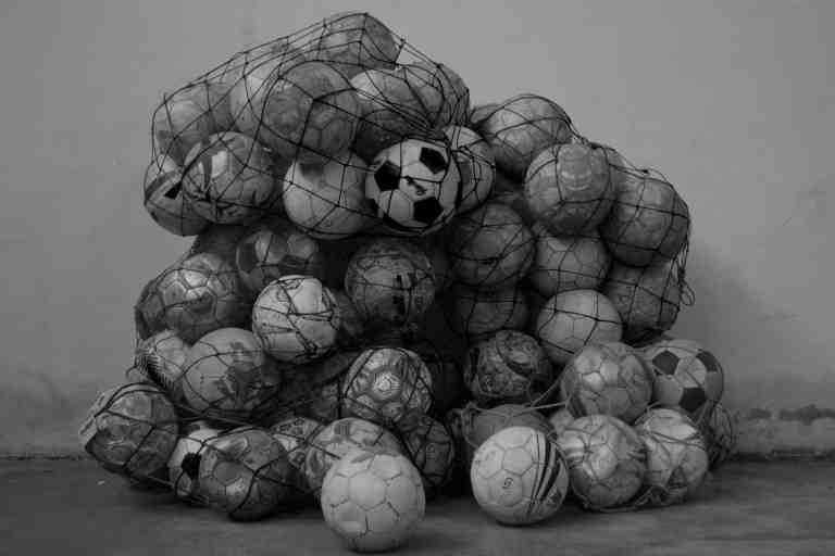 old soccer balls to be upcycled to handbags