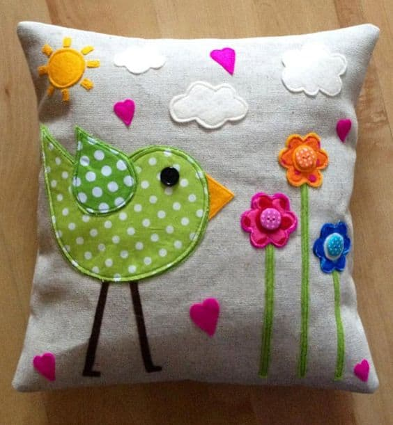 scrap fabric and button cushion