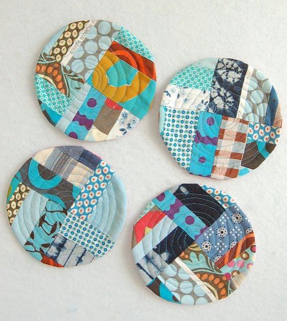circle scrap fabric coasters