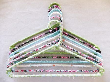 clothes hangers wrapped with fabric