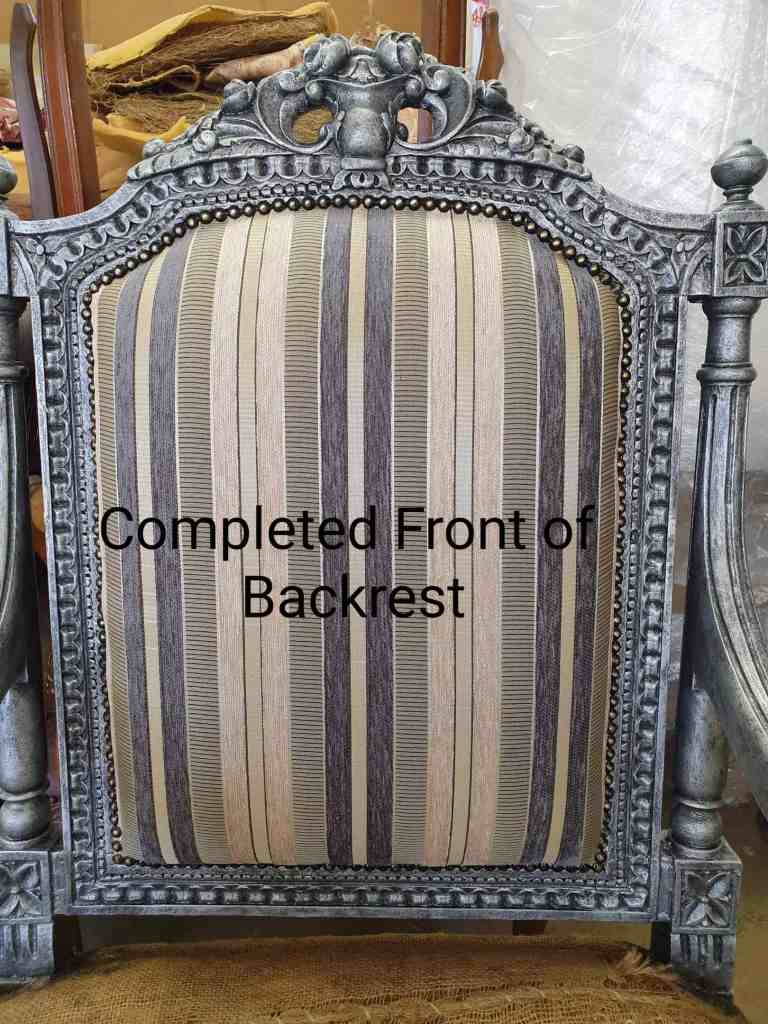 antique French fauteuil chairs upholstery tutorial backrest