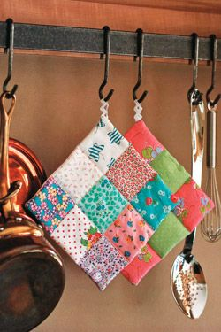 scrap fabric patchwork potholder
