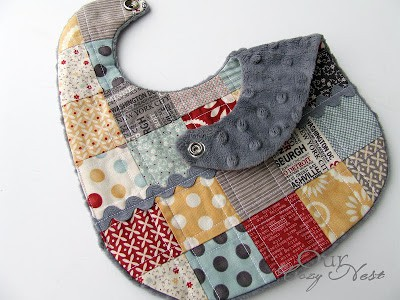 quilted scrap fabric baby bib