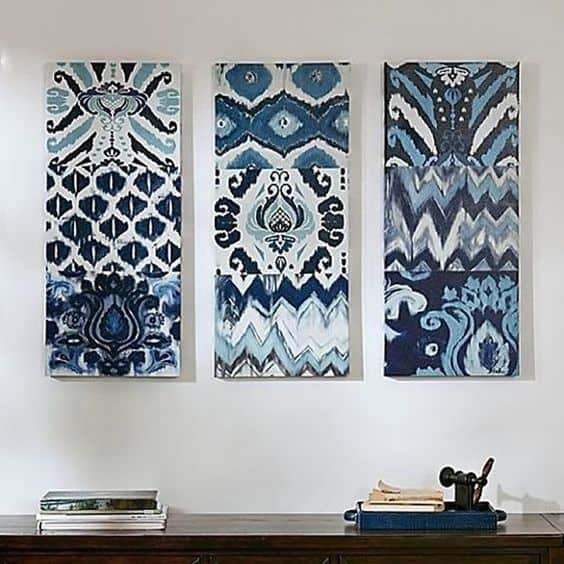 fabric panels as wall art for blank walls