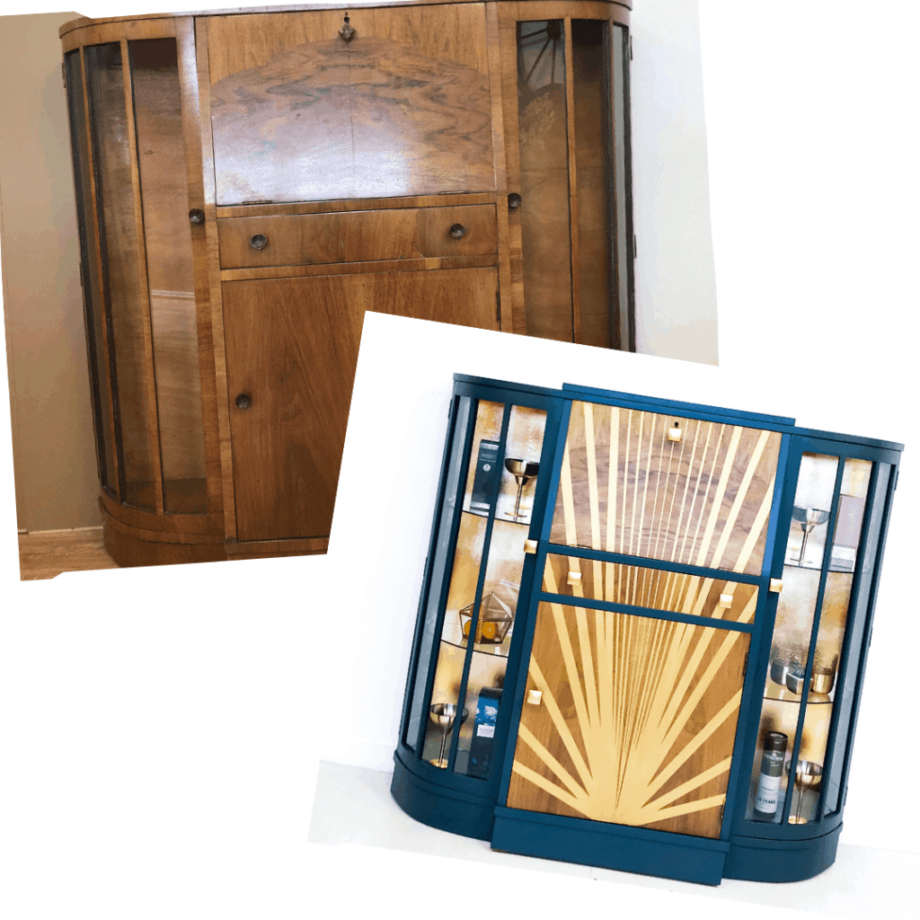 how to upcycle a bureau into an Art Deco drinks cabinet