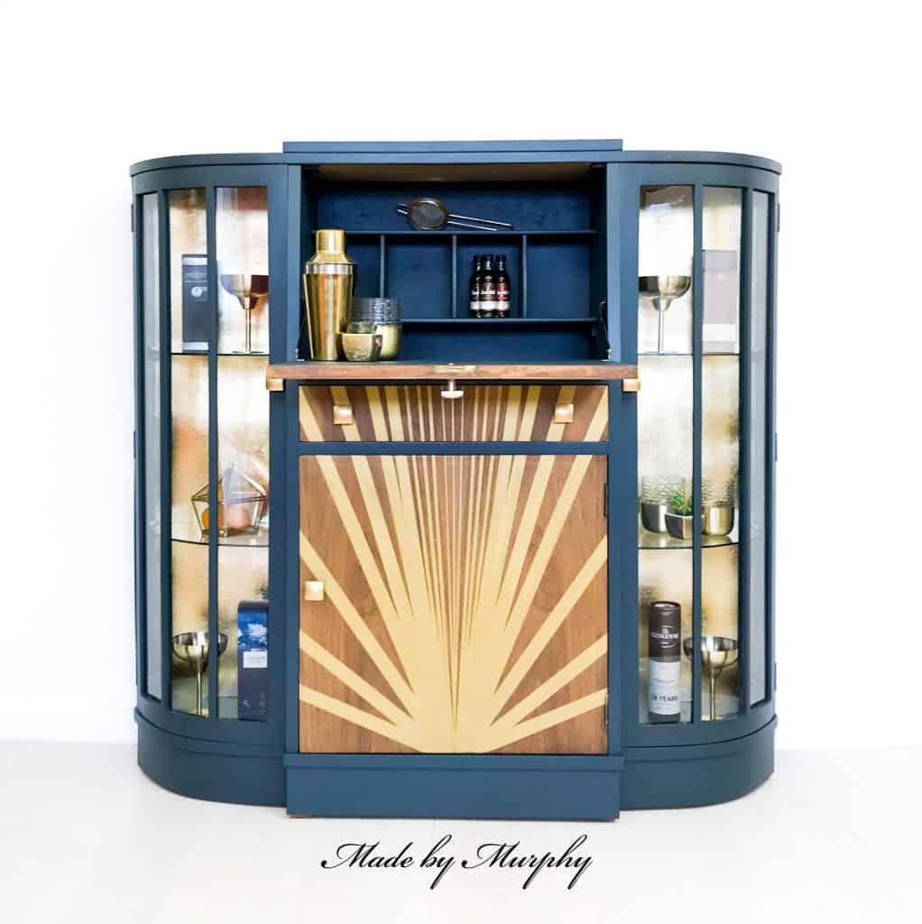 Sunburst design drinks cabinet