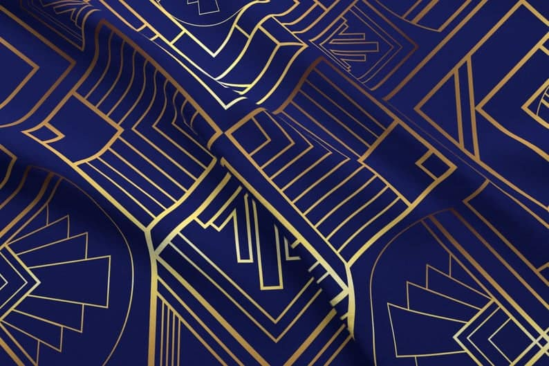 Art Deco upholstery fabric navy and gold