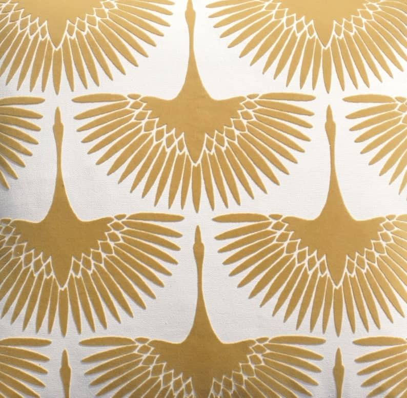 Art Deco birds upholstery fabric