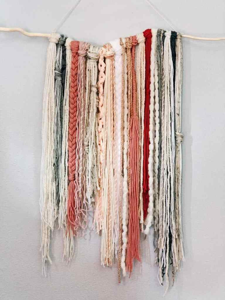 yarn and beads wall hanging