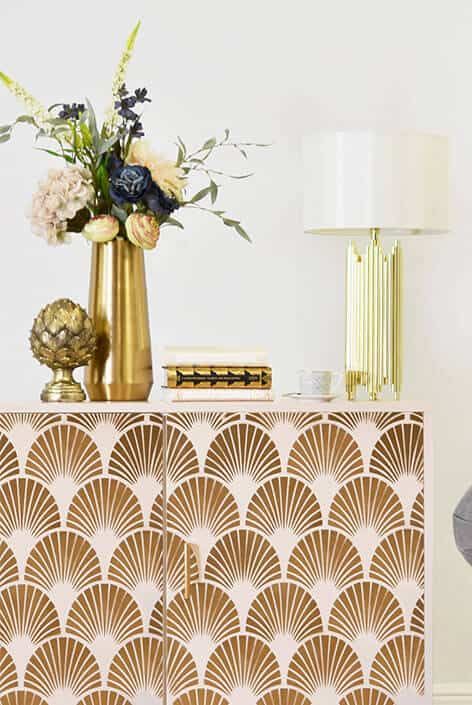 Art Deco sideboard stencil makeover