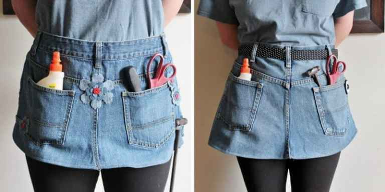 upcycled jeans turned into a work apron tutorial