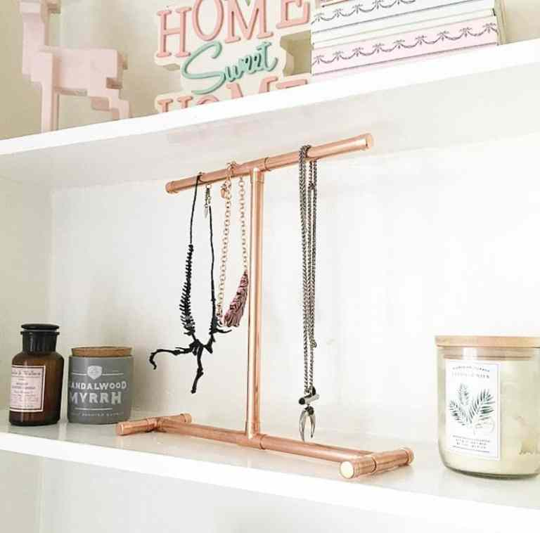 upcycled copper jewellery stand