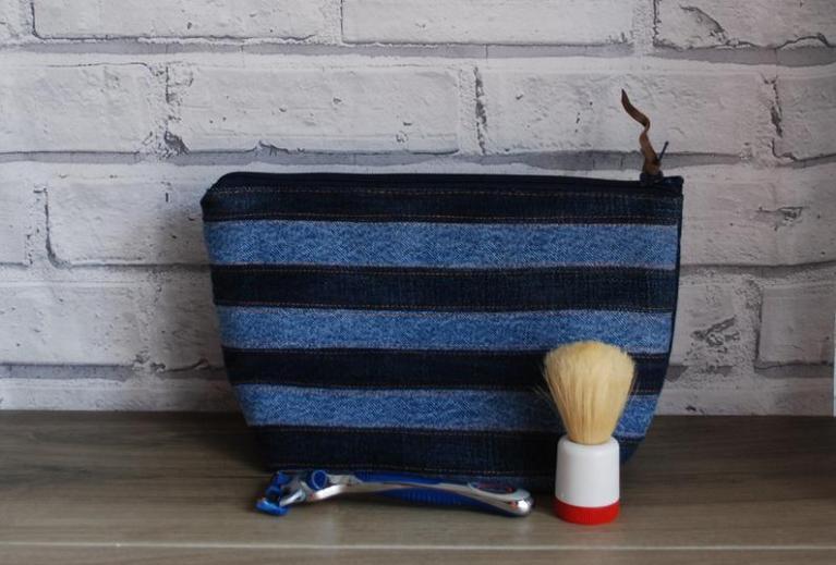 upcycled denim washbag gift