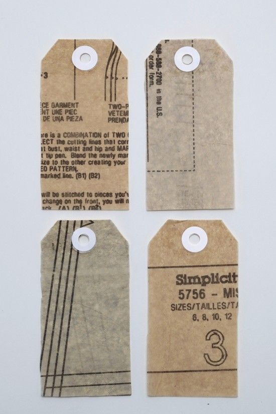 gift tags made from old sewing patterns
