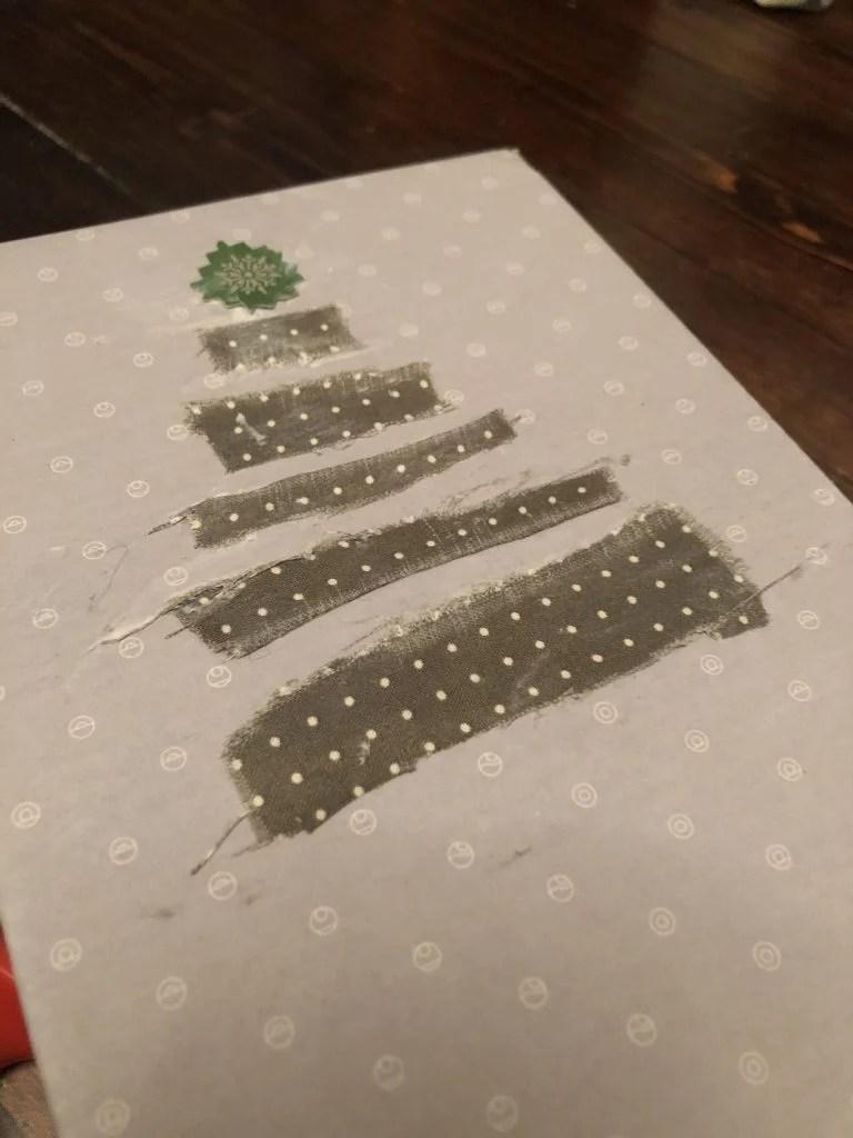 decoupage scrap fabric on a gift box