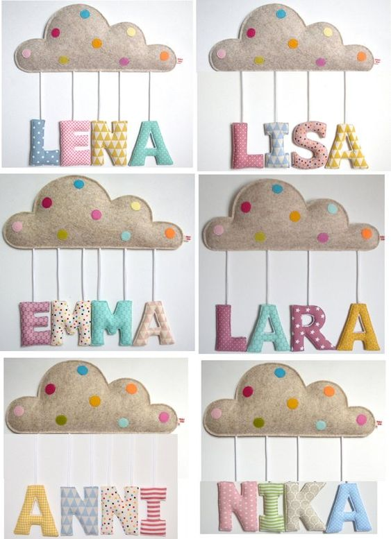 childs fabric name sign with cloud