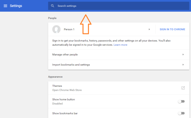 Google Chrome Search Settings