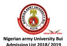 Nigerian army University Bui Admission List