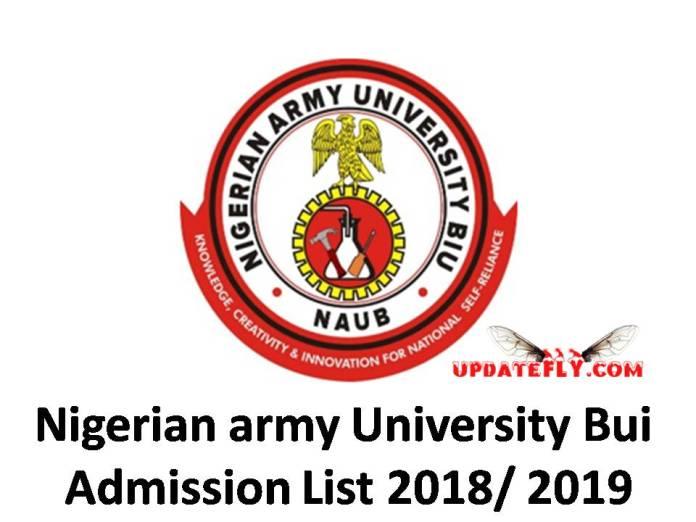 Nigerian army University Bui Admission List