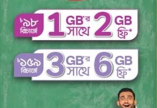 Airtel 200% Free Internet Offer(1GB & 3GB)