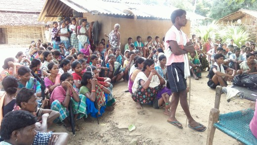 Residents of Nahadi village gathered together
