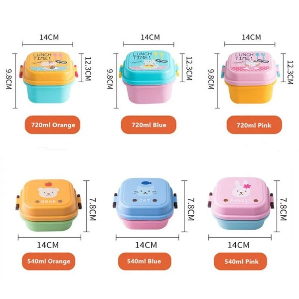 Children Cartoon Style Healthy Plastic Microwave Lunch Box 5